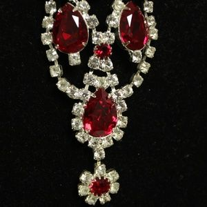 Rare Vtg Juliana Ruby Rhinestone Bib Necklace